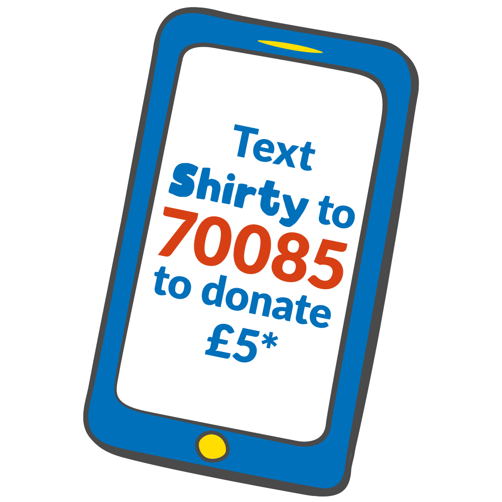 Text Shirty to 70085 to donate £5 - blue telephone illustration