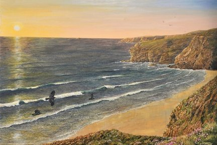 Original artwork named Atlantic Sunset by Cornish artist Dick Twinney
