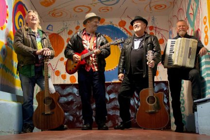 Musicians Steve Ruffe, Andy Knight, Mick Burke and Glenn Bower are holding a Birthday Bonanza Concert at Appledore Social Club on Sunday, December 8. Picture: Sarah Gallifent and skittle alley artwork by Sandy Brown