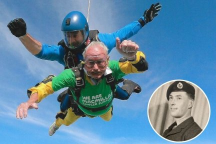 Arthur Bennett celebrates his 90th with a tandem skydive