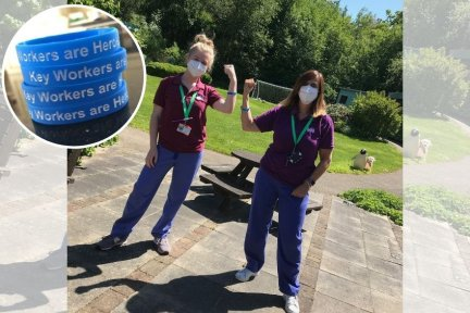 Care team members at Charlton Farm are pictured wearing the new charity wristbands