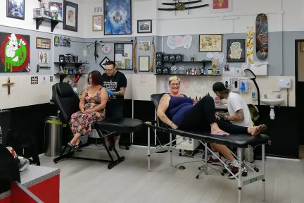 Full Moon Tattoo staff ready for a 3 day tattoo marathon