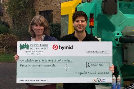 Della Jeffery, Fundraising Administrator at CHSW virtually accepting a cheque from Hymid Sales Manager Julius Guth