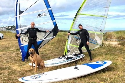 Joe Mitchell, pictured with friend and training partner Nathan Long, is preparing to windsurf to Lundy to raise money for Children's Hospice South West