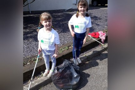 Lizzie and Hannah did a sponsored litter pick for CHSW in their village