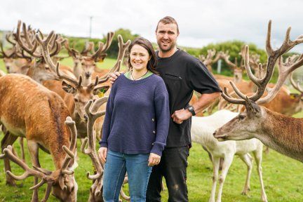 Matt and Pippa Smith with the deer