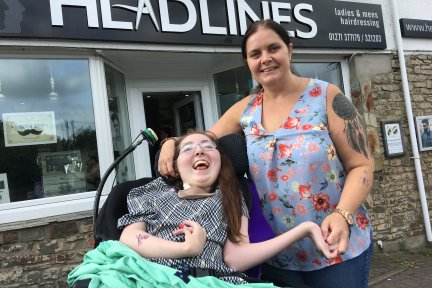 Megan and her mum Victoria outside Headlines hairdressers in Fremington