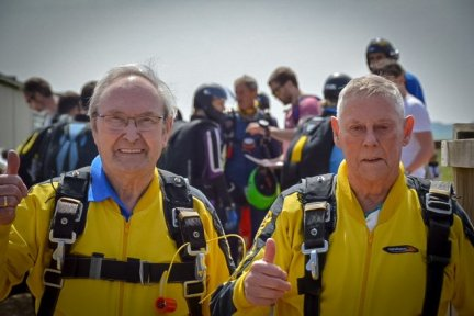 Ray Hales (right) and his friend Arthur Bennett both took part in a skydive to raise funds for Children's Hospice South West last year