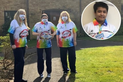 Ryan Mahajan's Rainbow-themed rugby shirts and balls are being sold to support care teams at Children's Hospice South West