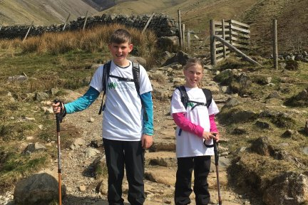 Bodie and Gracie Blake from Ideford, near Kingsteignton have climbed Scafell Pike in the Lake District in aid of Children's Hospice South West