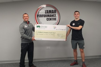 Matt and Charlie from Tamar Performance Centre with their donation
