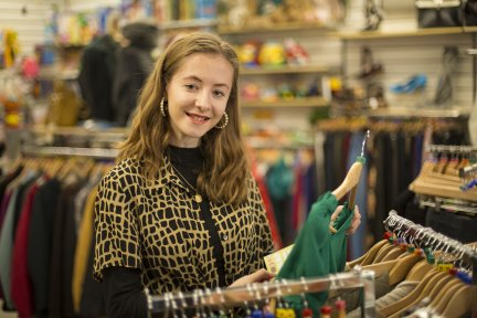 Exeter University student Niamh O'Riordan-Mitchell volunteers in the Children's Hospice South West charity shop in Sidwell Street, Exeter. Picture credit: Tim Lamerton Photography