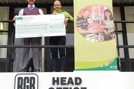 Paul Turner, Finance Director at RGB Building Supplies, and Dominic Scotting, Community Fundraiser at Children's Hospice South West
