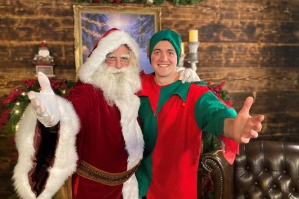 Santa and Pipkin the Elf ready to take bookings for their zoom calls with children and families