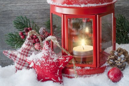 Red vintage Christmas lantern