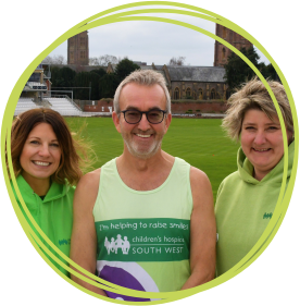 Former Somerset County Cricket Club chairman Andy Nash with Emma Perry and Tracy Harvey of Children's Hospice South West at the Cooper Associates County Ground in Taunton