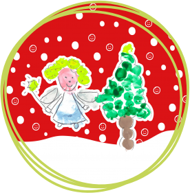 Corporate Christmas graphics package - messy play painting Angel and Christmas tree