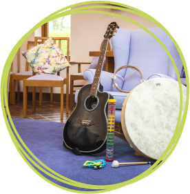 Music therapy sessions are held at Little Bridge House with the hospice's music therapist Ceridwen Rees.