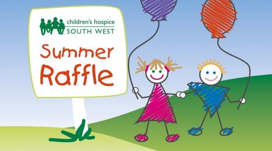 CHSW Summer Raffle illustration of two children holding balloons