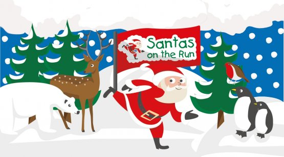 Santas on the Run illustration with woodland animals