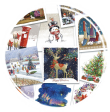 Selection of Christmas card images on white background