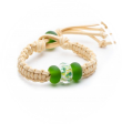 Bead bracelet with plaited natural colour cord