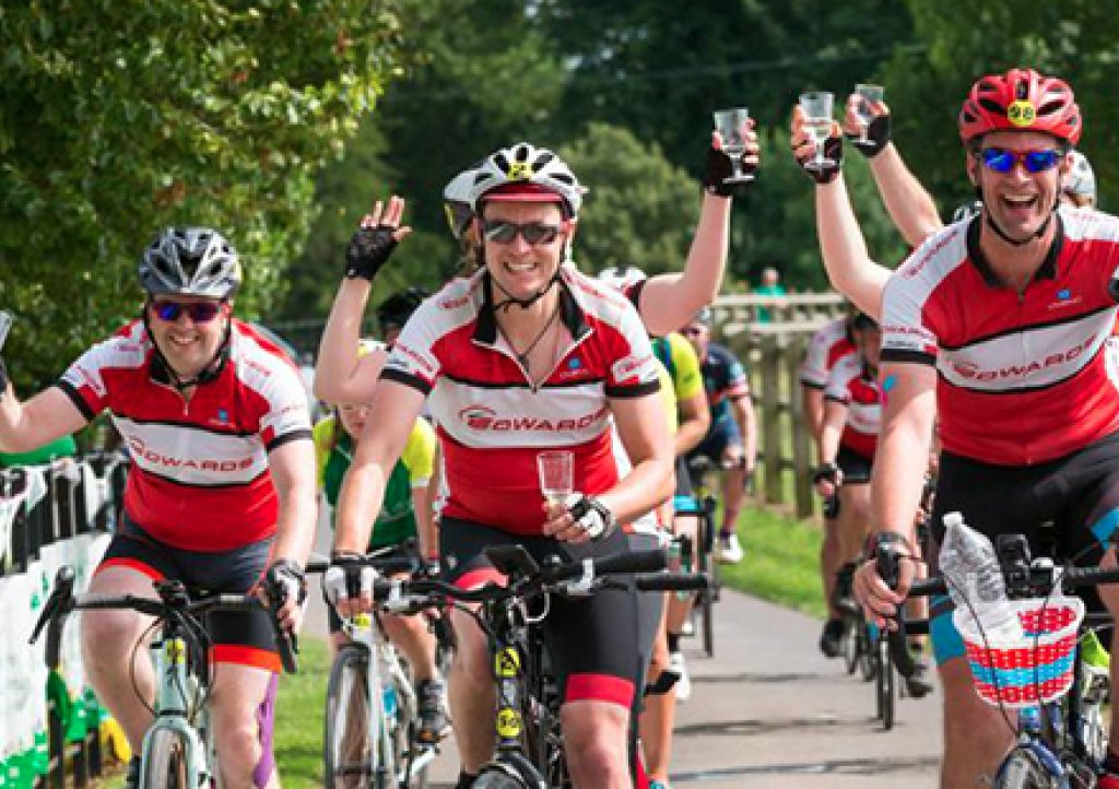 Edwards team cycle into the finish at the 2017 Ride for Precious Lives