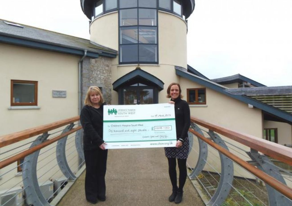 Cornwall Glass hand over cheque to Childrens Hospice South West