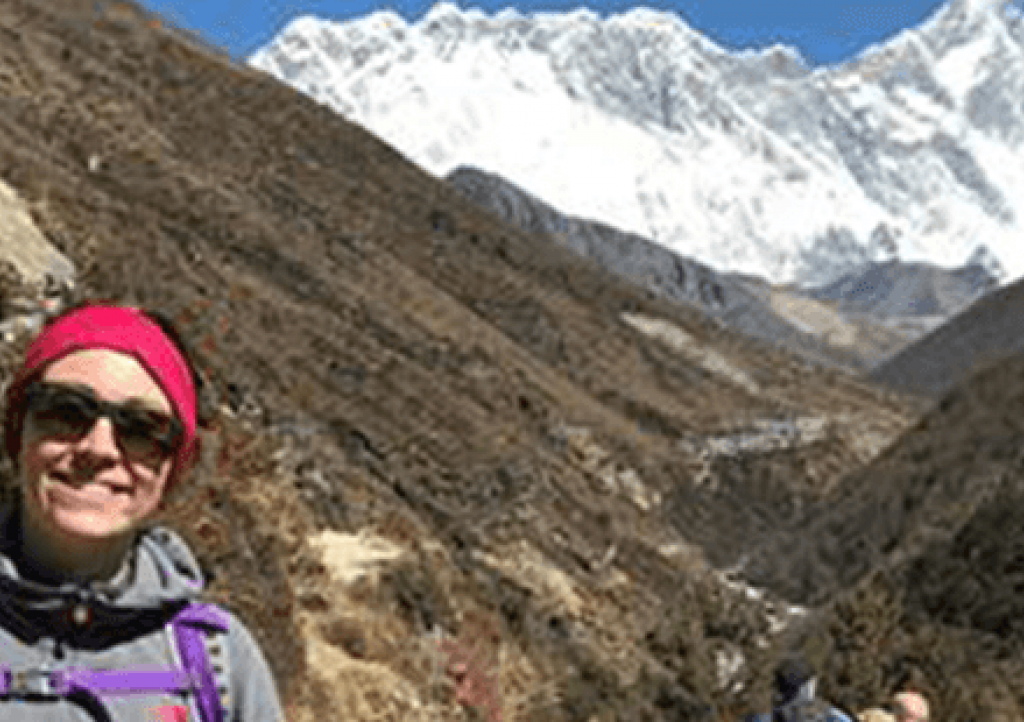 Helen climbing to Everest Base Camp