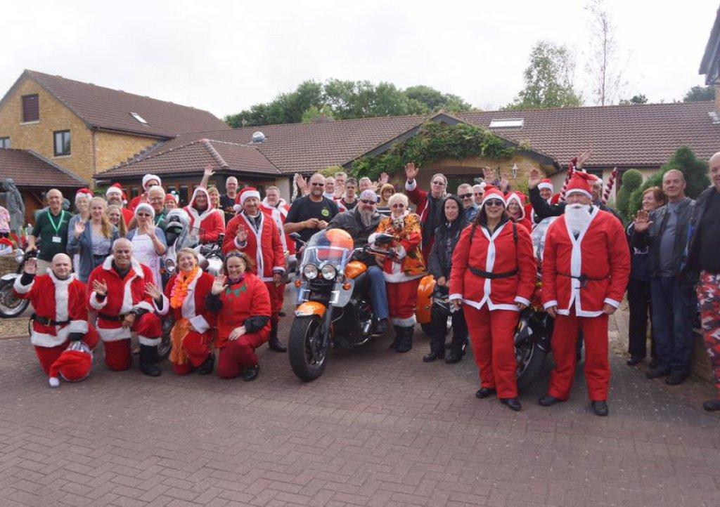 Santas on Bikes at Little Bridge House