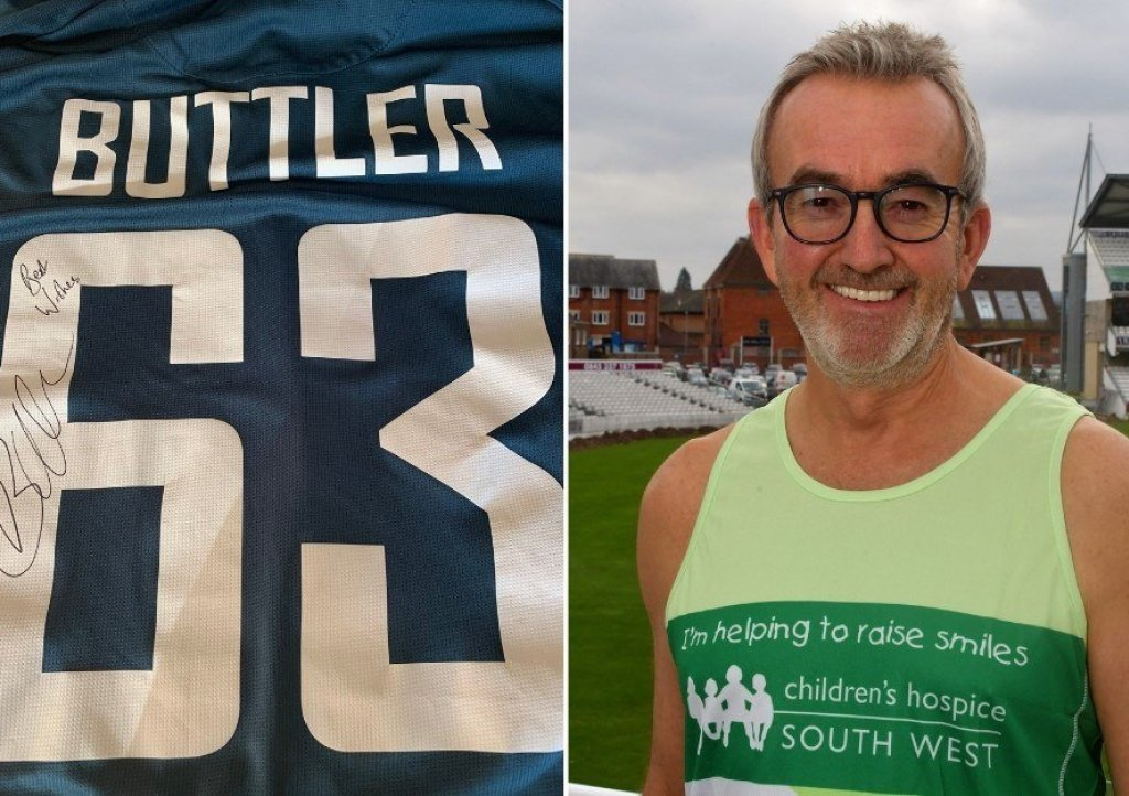Former Somerset County Cricket Club chairman Andy Nash and the signed England shirt worn by Jos Buttler against the West Indies that is up for auction in aid of Children's Hospice South West.
