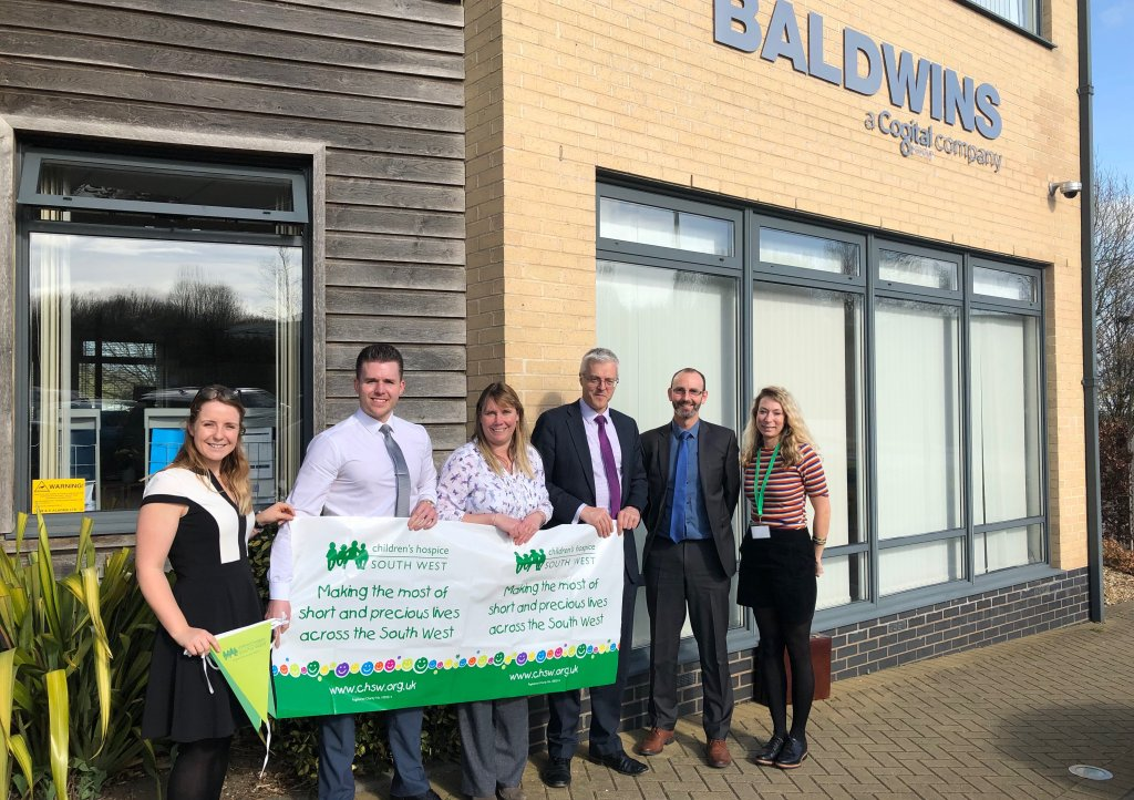 Staff from Baldwins' South Molton and Holsworthy offices are supporting Children's Hospice South West in 2019. Pictured (from left) are Rebecca Haughton, Andrew Schuster, Jayne Gillanders, Matt Gard, Michael Hesketh of Baldwins and Mhairi Bass-Carruthers