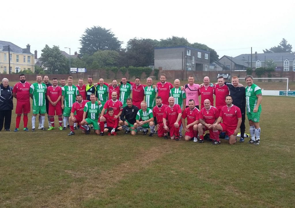 Football teams join together for memorial football match at Saltash FC