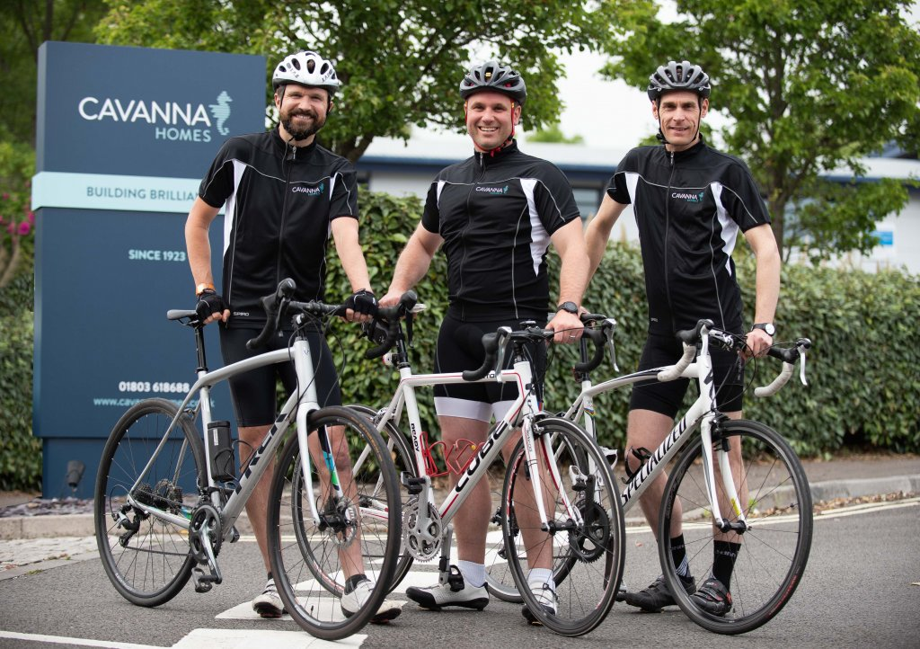 Cavanna Homes' Michael Newman, Ed Brown and Ben Rowntree are taking part in the Ride for Precious Lives 2019 cycle challenge in aid Children's Hospice South West