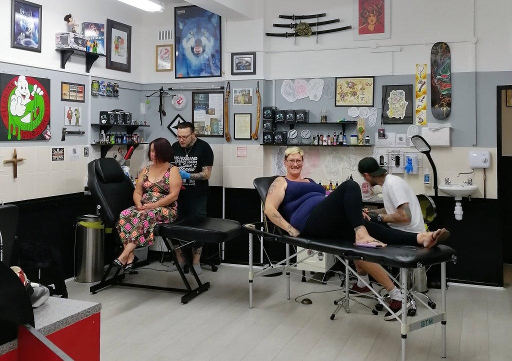 Full Moon Tattoo staff ready for a 3 day tattoo marathon