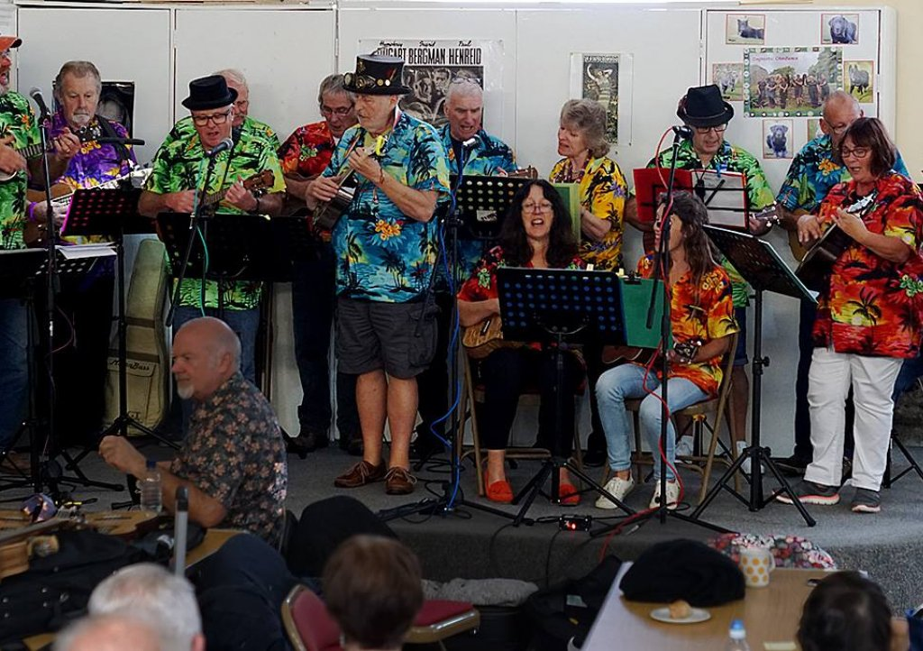St Merryn Ukes in their hawaiian shirts