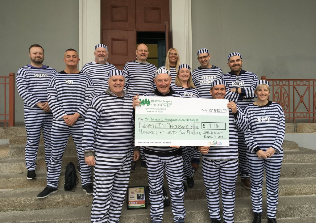 Prisoners that took part in Jail and Bail present their bail money to CHSW