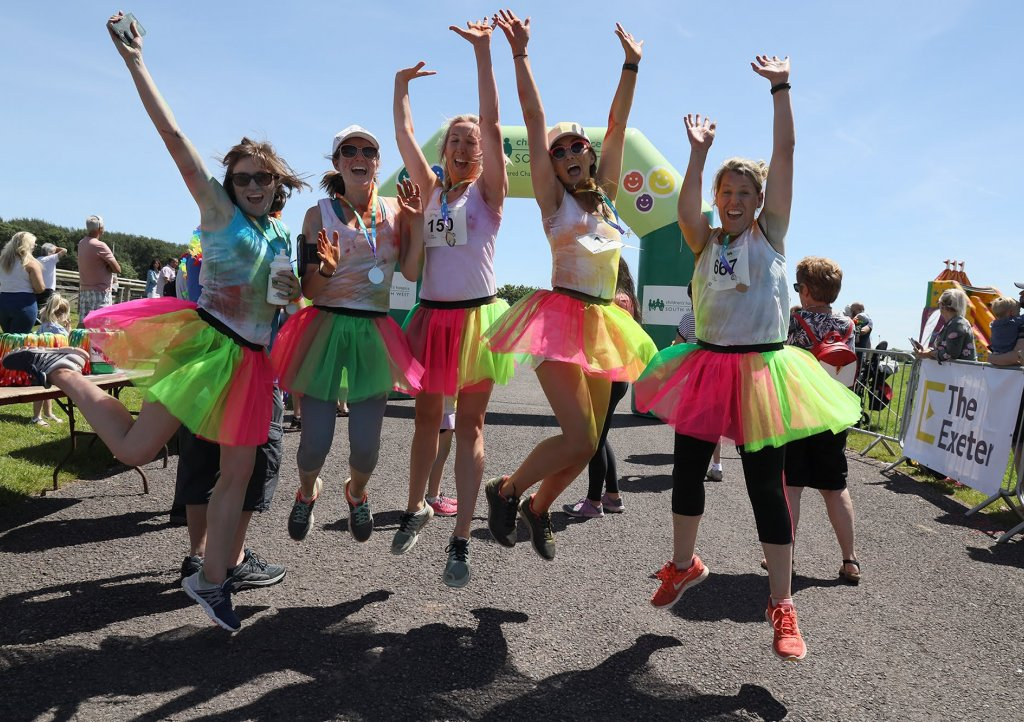 Fun at the finish line at Rainbow Run Exeter