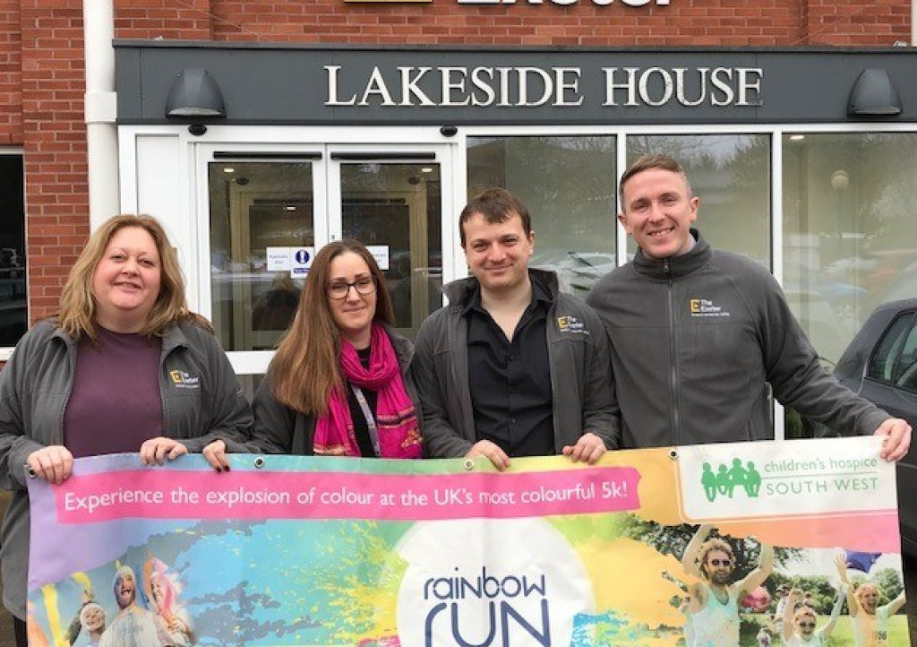Healthcare and protection insurance specialist The Exeter will be the headline sponsor at Children's Hospice South West's 2019 Exeter Rainbow Run. Pictured (from left) are Suzanne Coleman, Becky Penrose, James Greenaway and Ryan Tumulty
