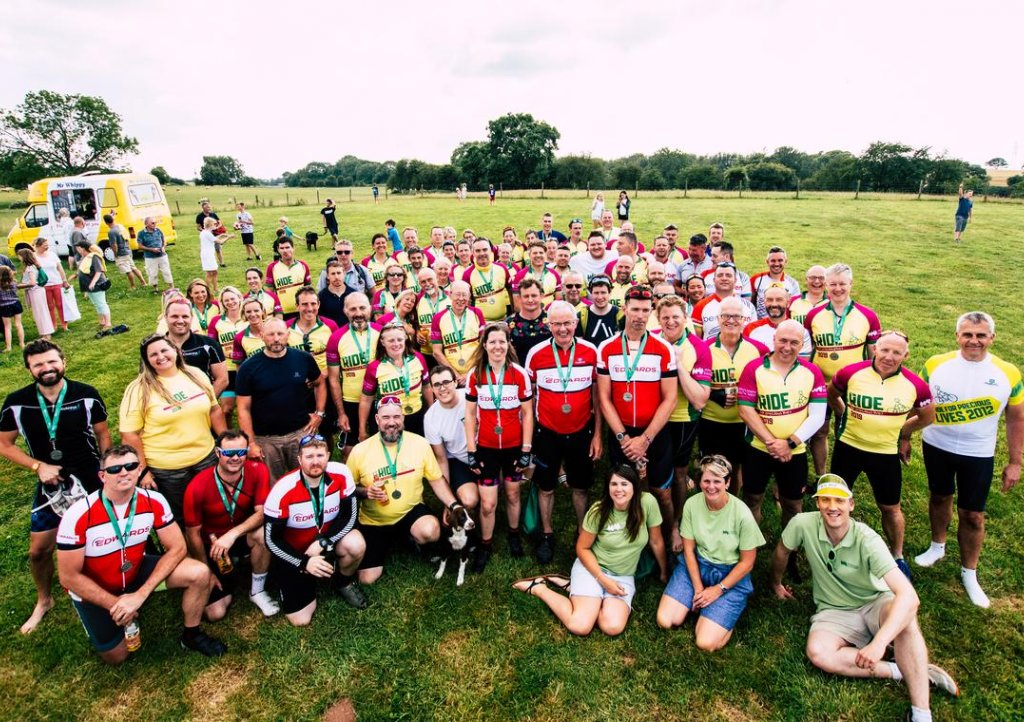 Ride for Precious Lives cyclists at the finish line at Charlton Farm. Picture: Joe Scrase @JoeKnowsPhotoUK