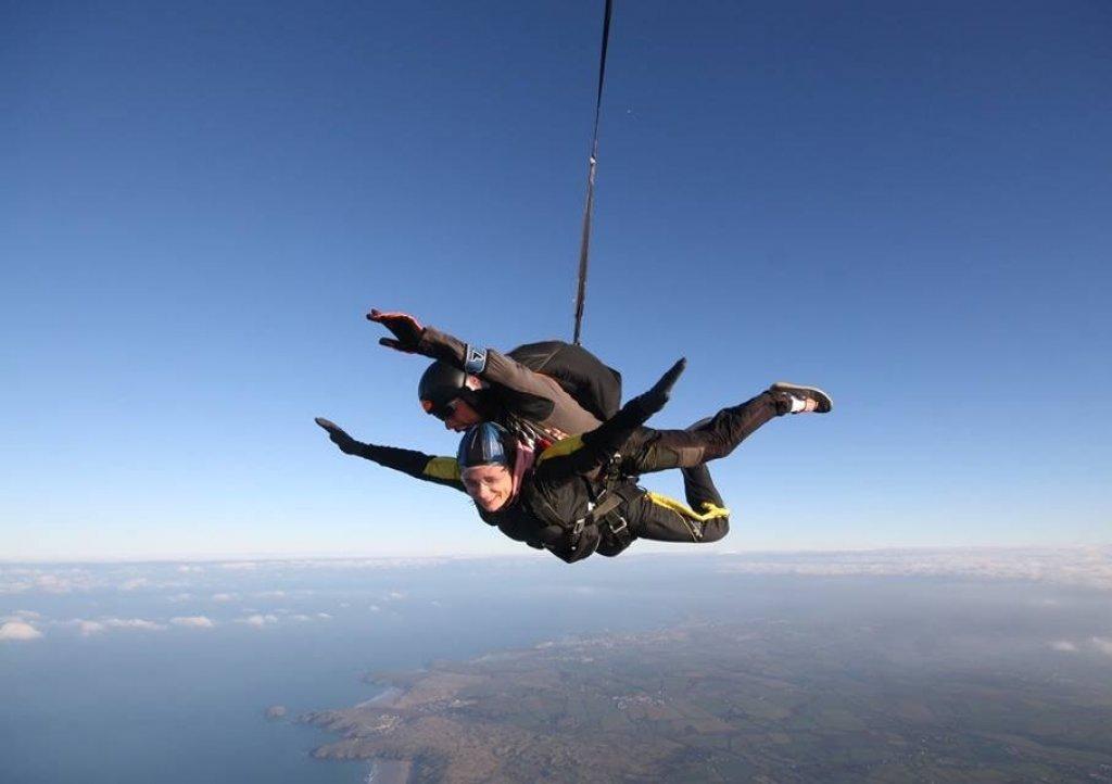 skydiver at Perranporth