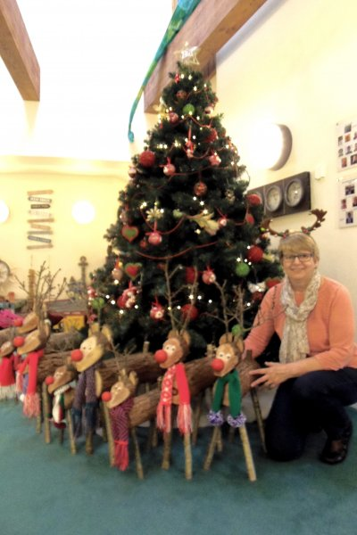 Sheila with Reindeer her family make to raise funds for CHSW