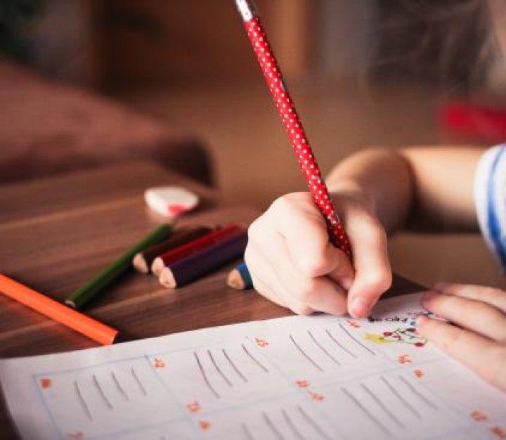 Child at school writing