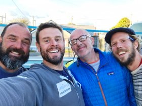 The four rowers that make up the Atlantic Seamen