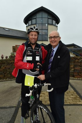 Marcus in congratulated by CHSW's Director of fundraising Simon Bird